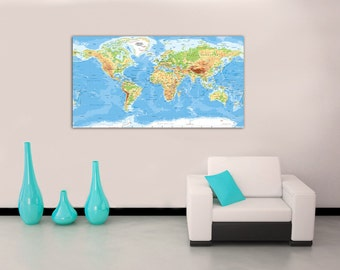 Classic World Map CANVAS PRINT Home Wall Decor Art Giclee Bedroom