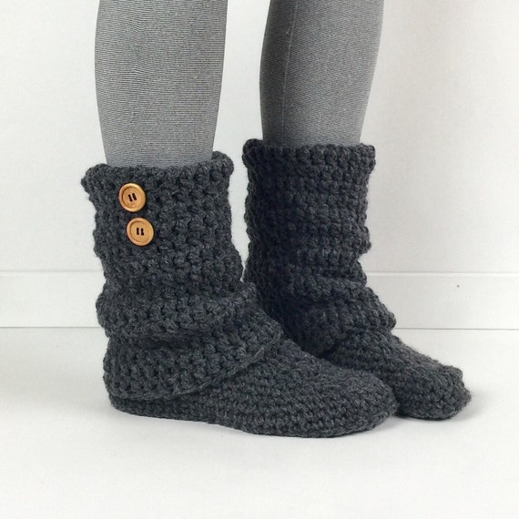 Knitting Pattern Ladies Slipper Boots : Items similar to Womens Crochet Dark Gray Slouchy Slipper Boots, Knitted...