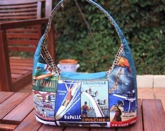Retro, Vintage Surfing fabric. Medium sized shoulder handbag. Made to order.