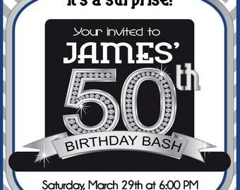 Surprise 50th Invitation - Men's 50th Birthday Invitation by FabPartyPrints