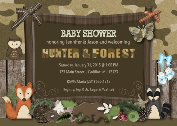 Twins baby shower invitations woodland friends hunting fall camo il570xn filmwisefo