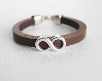 Infinity bracelet. Unisex bracelet. Bracelet pour homme. Genuine and top quality leather. Square cut leather. Brown bracelet. Pulsera varón.