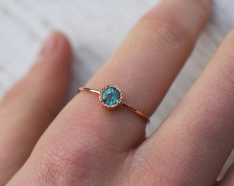 Apatite ring in solid 14k gold,  blue green gemstone ring, engagement ring, fine jewelry