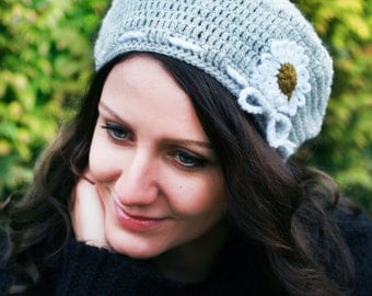 Hand knitted hat, Grey Crocheted Cap Beret Hat, Hand Crochet Women Beanie with flower