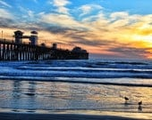 Oceanside Pier, Colorful Sunset, Sky, Seagulls, Oceanside, California
