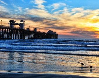Oceanside Pier, Colorful Sunset, Sky, Seagulls, Oceanside, California