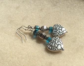 Blue & Silver Love Earrings ~ OOAK