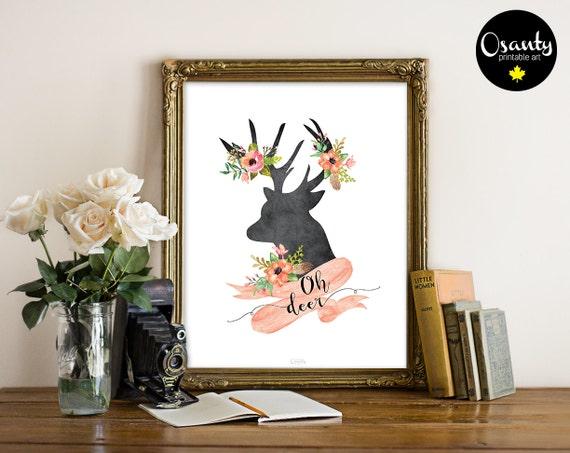 Oh Deer printable poster, deer antlers, Typography Print, Wall Art Poster, Wall Decor, deer Print, Home Decor Artwork, printable deer poster