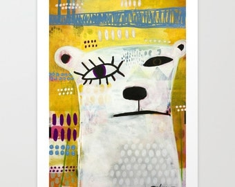 Contemporary Art Print, Picasso Polar Bear Art Print, Polar Bear Art with Bright Colors