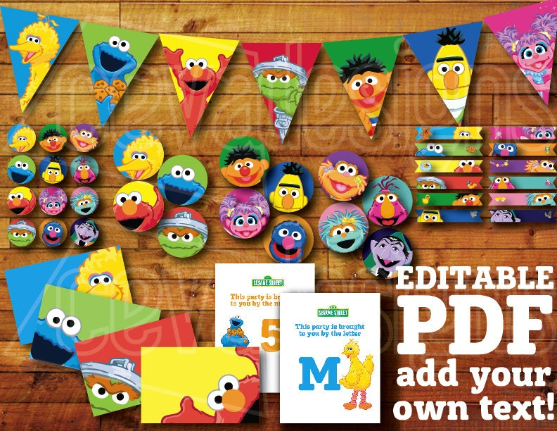 60 Pages Printable Sesame Street Birthday Decoration