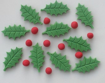 Set of 12 Large Holly Leaves & 12 Berries edible sugar cake toppers