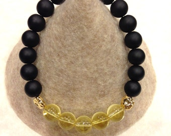 Genuine Onyx & Citrine stretch bracelet with gold plated details