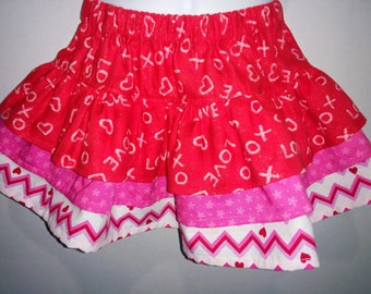 Heart and Chevron Valentine's Day Boutique Birthday Party Twirl Twirly Skirt Girl Outfit! Sizes  2 ,3, 4, 5, 6, 7, 8 Valentine Valentines