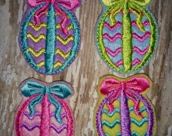 Set of 4 Girly Chevron Egg with Bow Easter Feltie Felt Embellishment Hair Bow! Birthday Party Easter Eggs Planner Clip Bunny Rabbit Felties