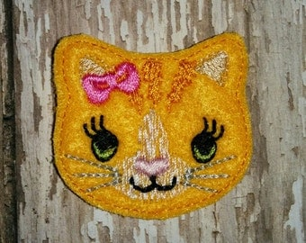 Set of 4 Tabby Cat Kitty Kitten Animal Feltie Felt Embellishment Bow! Birthday Party Oversized Large Oversize Felties Planner Clip