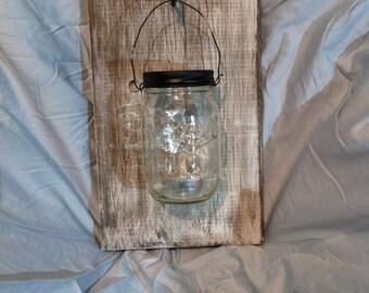 Rustic Mason Jar Wall Lantern