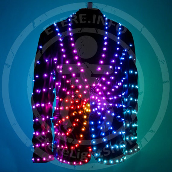 smart led light up video screen fashion disco jacket costume sun
