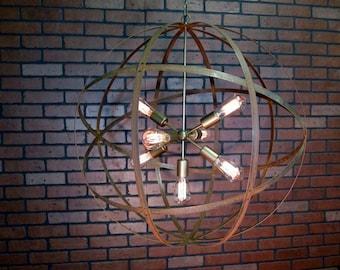 """ON SALE! Rustic Industrial 30"""" Orb Ceiling Light Sphere Wine Barrel Ring 7-Light Sputnick 70"""" Antique Gold"""