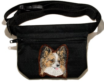 Papillon embroidered dog treat bag / treat pouch with waist belt.  For dog shows, walking and training. Great gift for breed lovers.