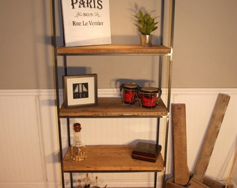 4 Shelf Metal and Hemlock Display Unit