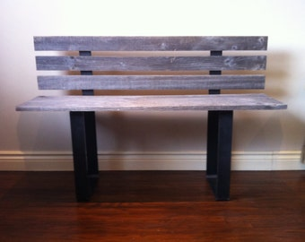 Barn Wood and Metal Benches