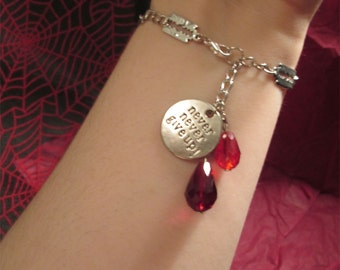 "The ""Never Give Up"" Self-Harm Razor Blade and Blood Drops Bracelet"