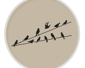 Birds Cross stitch pattern, Counted cross stitch pattern, Instant Download, cross stitch bird, silhouette, cross stitch PDF, MCS013
