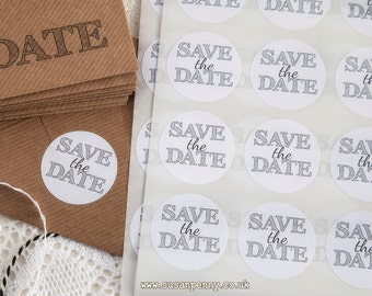 Save the Date Sticker 40mm (1 1/2in), Invitation Seals, Envelope Seals, Labels, Parcel Stickers -  PSS052
