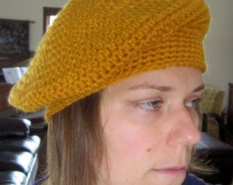 Gold Beret, Slouchy Crocheted Hat