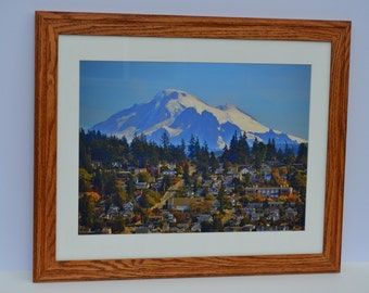 "scenic city picture, framed in handmade oak frame with 16"" by 20"" glazing, image of Mt. Baker looming over Bellingham, Wa., scenic wall art"