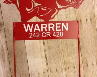 Metal Razorback Yard and Garden Sign
