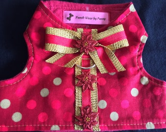 Dog Harness, Size Small, Poinsettias and Polka Dots