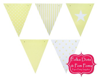 50 YELLOW Gloss Paper BUNTING Flags / Pennant / Garland / Birthday Party Decoration Ideas & Supplies / Wedding / Baby Shower