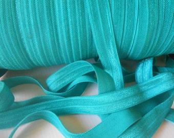 Jade,( Teal), Fold Over Elastic - FOE - 5/8 Fold Over Elastic -Headband elastic, satin elastic, wholesale elastic