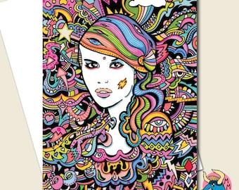 Electric Girl Card, Greeting Card, Birthday Card, Card For Her, Goth Card, Psychedelic Card, Alternative Card, Wife Card, Girlfriend Card