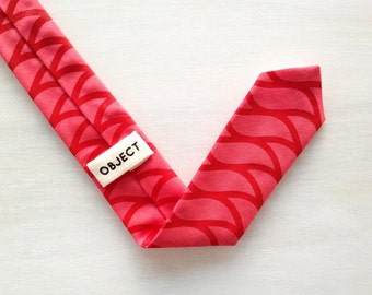 Mens Necktie, Skinny Tie, Organic Cotton, Screen Printed, Red, Gifts for him, Wave Pattern, Made in Detroit