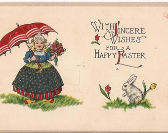 Vintage Easter postcard, embossed, little Dutch girl  with a rose bouquet and an umbrella, never posted