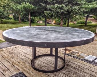 Round Zinc Table With Steel Mushroom Base