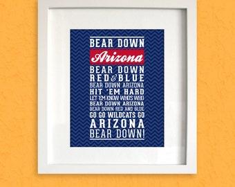 Digital Download Arizona Quot Bear Down Quot Fight Song Print