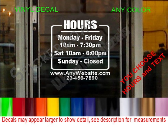 STORE HOURS CuStOm Window Decal Business Shop Storefront Door - Window stickers for business hours