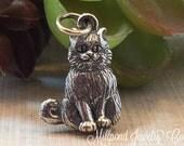 Happy Kitty Charm, Cat Charm, Kitty Charm, Sterling Silver Kitty Charm, Animal Lover Charm, Animal Charm, PS01236