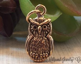 Owl Charm, Owl Pendant, Natural Bronze Owl Charm, Jewelry Findings, Jewelry Supplies, Bronze Charm, PB0130