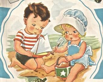 Vintage children's alphabet book book illustration boat pail turtle digital download printable image 300 dpi