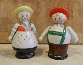 Vintage Japanese Ceramic German Couple Salt and Pepper Shaker Set