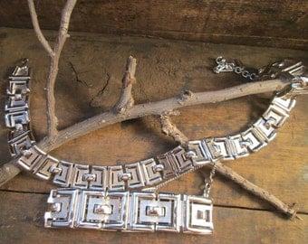 vintage monet silver tone boxed style necklace and bracelet