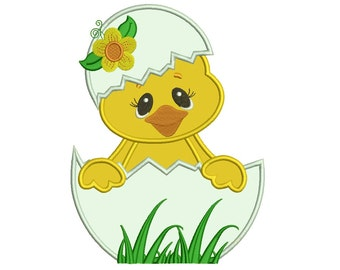 Hatching Chick with Flower Applique Machine Embroidery Digitized  Design Pattern - Instant Download - 4x4, 5x7, 6x10