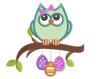 Owl Sitting on a Branch Applique Machine Embroidery Digitized Design Pattern  - Instant Download - 4x4 , 5x7, and 6x10 -hoops