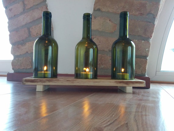 Kerzenständer Holz Weinflasche ~ Glas Kerzenhalter Weinflasche und Paletten Holz von GARAGEbySilvio