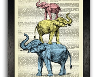 COOL ART Elephant Tower Art Print, Blue, Yellow & Red Elephant Wall Decor, Animal Poster, Vintage Dictionary Art, Elephants Illustration