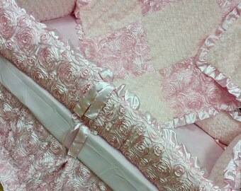 Pink, Satin, Rosette Crib Set.